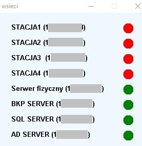 Zdalne monitorowanie działania serwerów - podstawowe okno programu