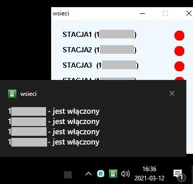 Zdalne monitorowanie działania serwerów - dymek powiadomienia na tle okna programu